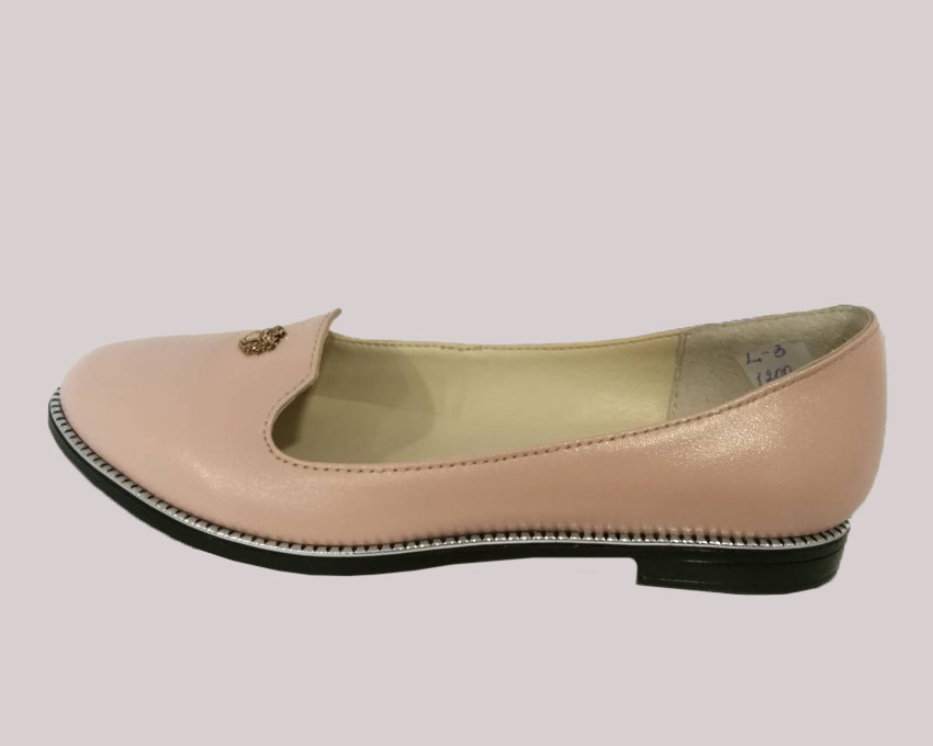 Балетки кожаные, цвет - пудра / Barefoot person  L3