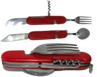 Складной столовый прибор 002 (красный и камуфляж с пластиковыми накладками, металлик)