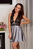 Женская домашняя одежда атласный пеньюар Серебро