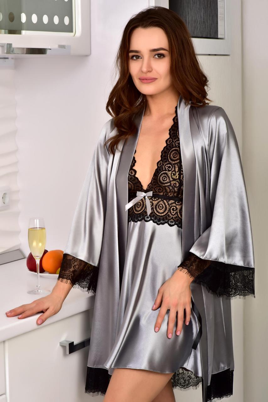 404da92cbac6c6e Красивый комплект женской домашней одежды халат с пеньюаром серебро Шанталь