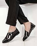 Стильные черные лаковые женские туфли с боковым вырезом, фото 5