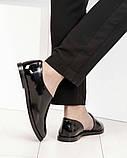 Стильные черные лаковые женские туфли с боковым вырезом, фото 4