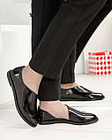 Стильные черные лаковые женские туфли с боковым вырезом, фото 2