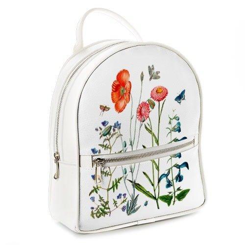 b12b20122706 Рюкзак 3D міський білий Маки в полі (белый рюкзак с цветами, маками ...