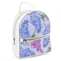 Рюкзак 3D міський білий Бузок (белый рюкзак с цветами, сиренью)