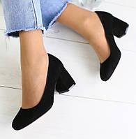 Модные женские замшевые туфли на среднем широком каблуке черные E74GK03IU
