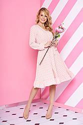 """Нарядное свободное платье-миди в горошек с рюшами на юбке """"L-194"""" розовое"""