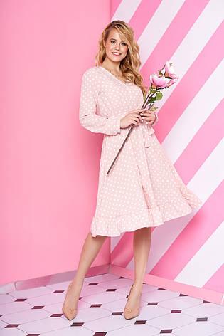 """Нарядное свободное платье-миди в горошек с рюшами на юбке """"L-194"""" розовое, фото 2"""