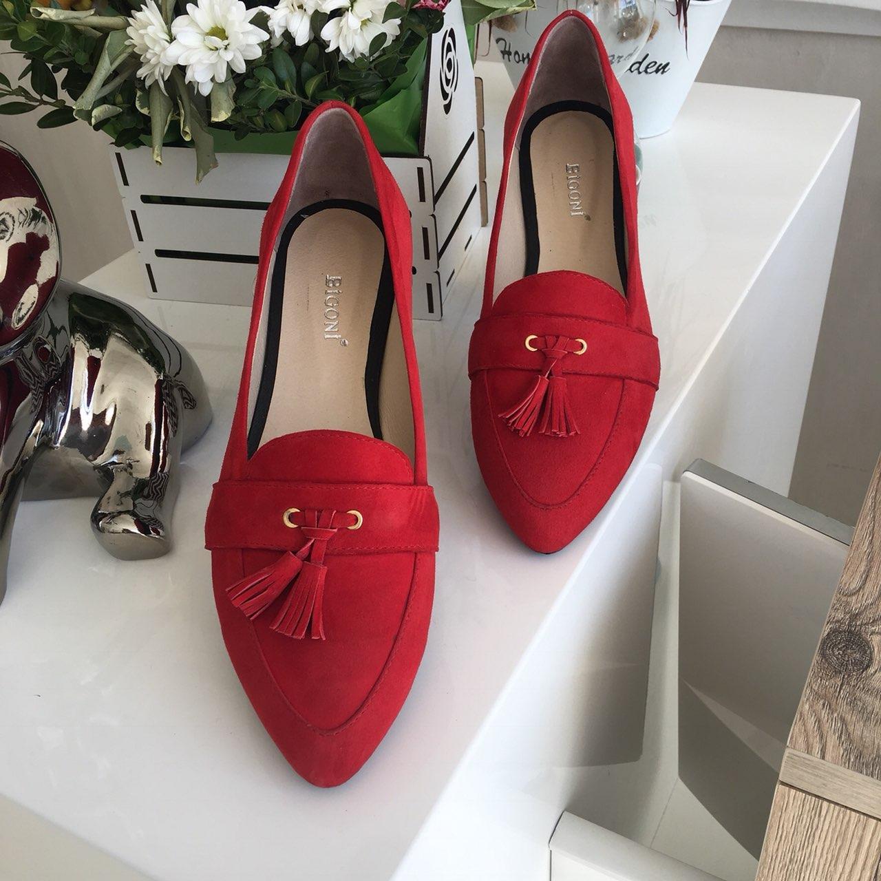 a2cc5c9c1 Красные туфли-балетки на низком ходу из натуральной итальянской замши с  бахромой - ГЛЯНЕЦ