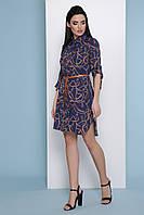 Синее платье-рубашка с принтом, фото 1
