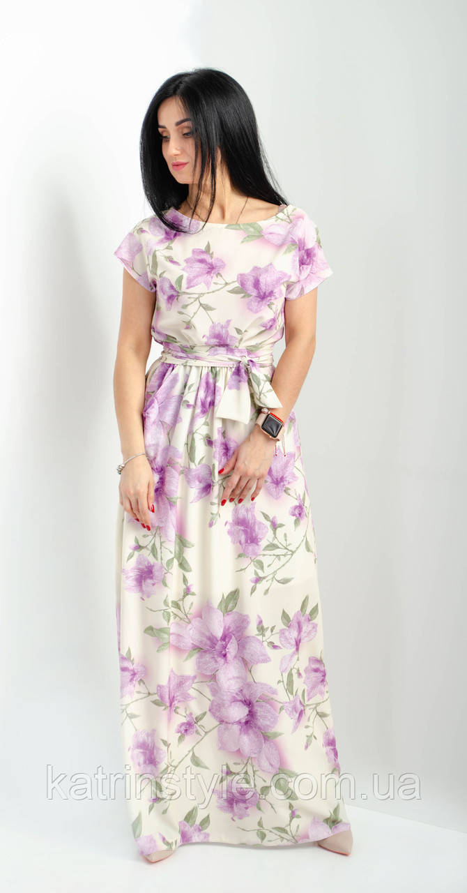 Длинное платье из натуральной ткани штапель