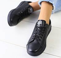 Модные женские кожаные кеды кроссовки на платформе замшевые вставки черные бренд IR76VN02-1SE