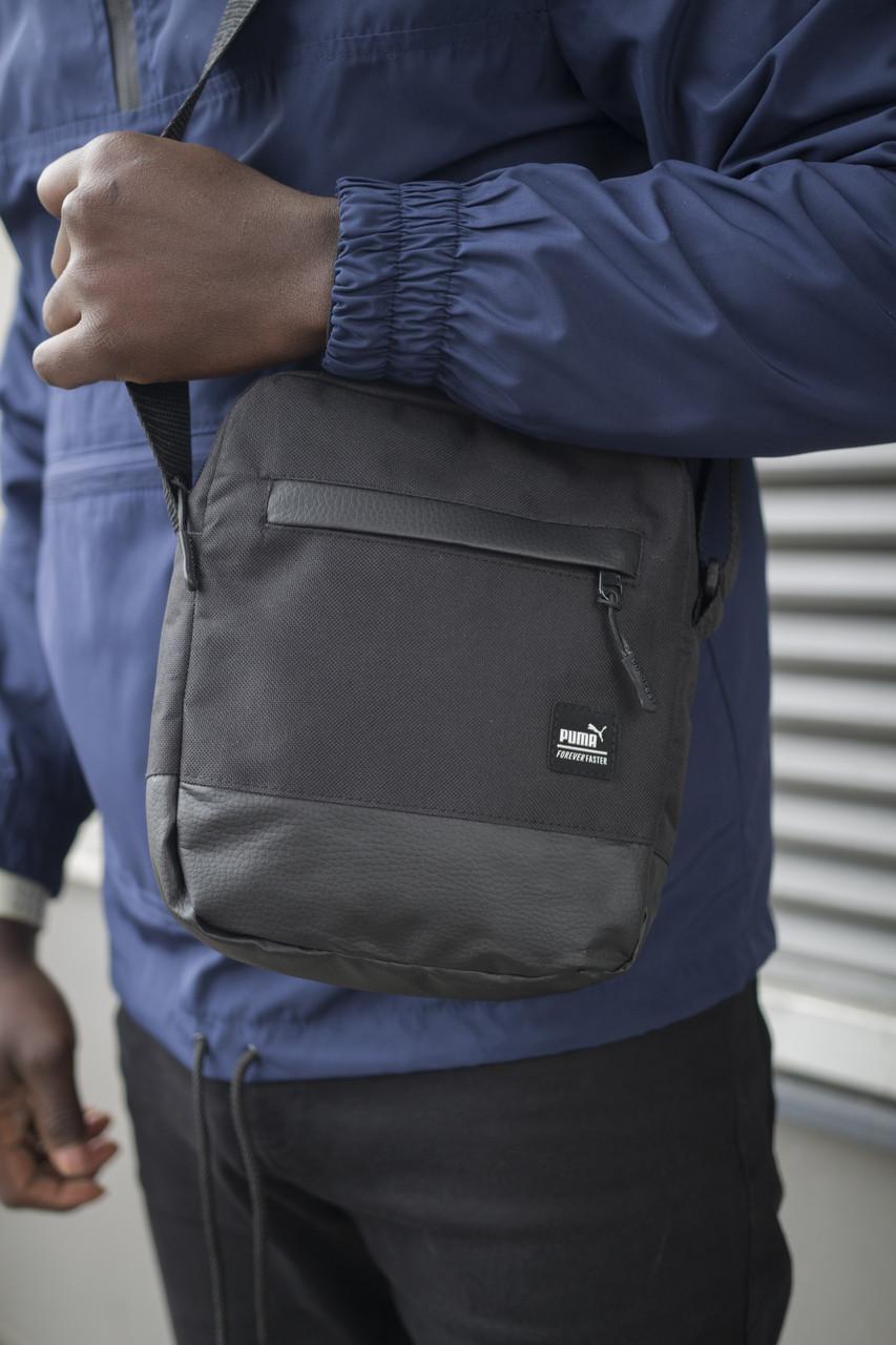 Барсетка Puma черная Unique пума сумка через плечо мужская