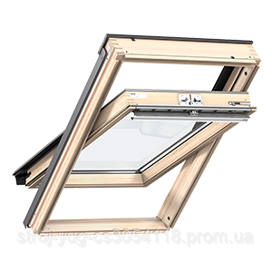 Мансардное окно VELUX Стандарт GZL 1051, ручка сверху, дерево/лак, 94х140
