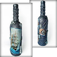 Декор бутылки в подарок моряку на новый год Сувениры морской тематики