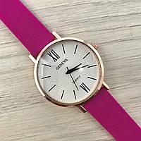 Женские часы Женева Geneva золото силикон малиновый / жіночий годинник