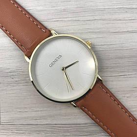 Часы Geneva Женева кожзам золото белый золото коричневый чоловічий/жіночий годінник