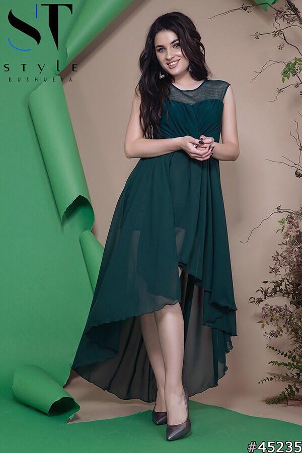 Женское вечернее асимметричное платье в пол 42-46р (7расцв)