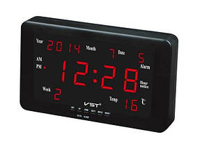 Часы сетевые 802 W-1 настенные (красные )