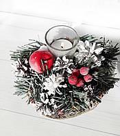 Подсвечник новогодний с хвоей и шишками Новогодний декор ручной работы