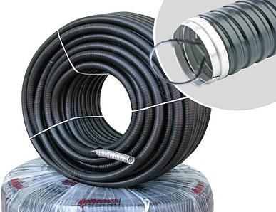 Металлорукав в ПВХ изоляции (металорукав, гофра металлическая, рукав металлический) c протяжкой