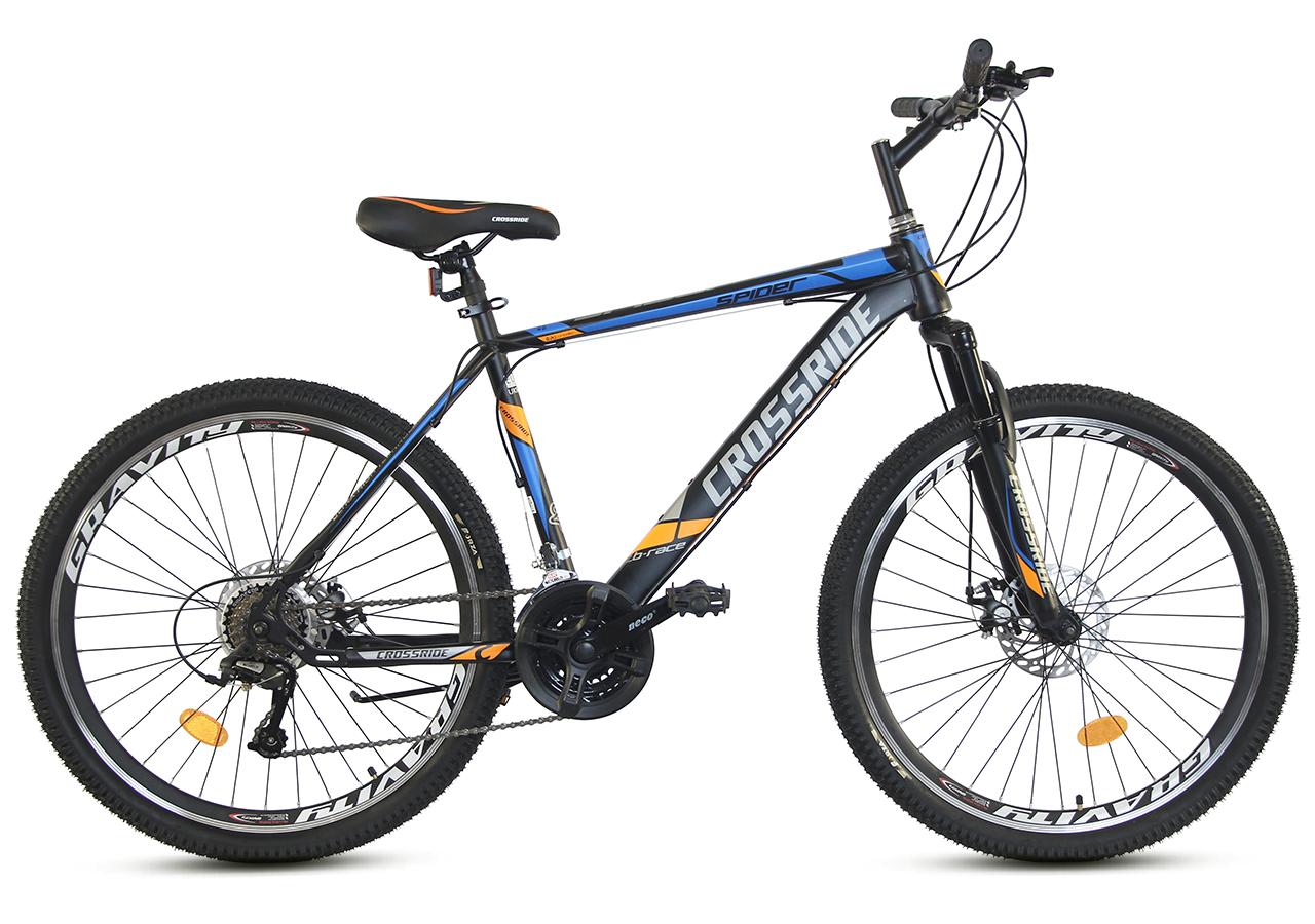"""Горный велосипед CROSSRIDE SPIDER 26"""" Черный/Голубой"""