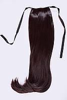 Шиньоны на ленте №2.цвет блики черный шоколад с краснинкой