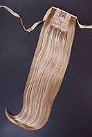 Шиньоны на ленте №2.цвет мелирование пшеничный с белым