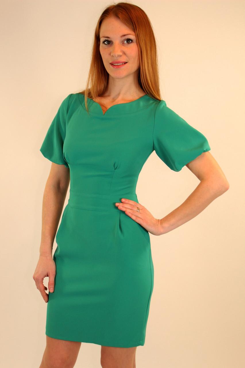 Модное платье 42-48 р ( бежевый, коралловый, бирюзовый )