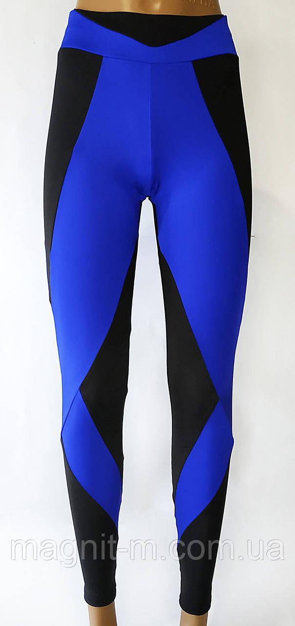 Модные, удобные лосины для фитнеса. Синие с черными вставками
