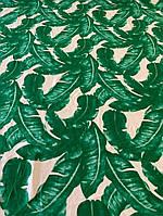 Ткань белый штапель с листьями, фото 1