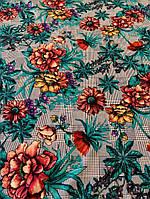 Ткань штапель в клетку с цветами