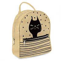 Рюкзак 3D міський золотистий Чорний кіт (золотистый рюкзак Черный кот)