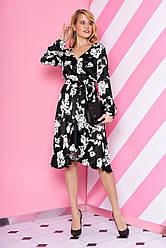 """Легкое вечернее шелковое платье-миди с воланами в цветочный принт """"L-198"""" черно-белое"""