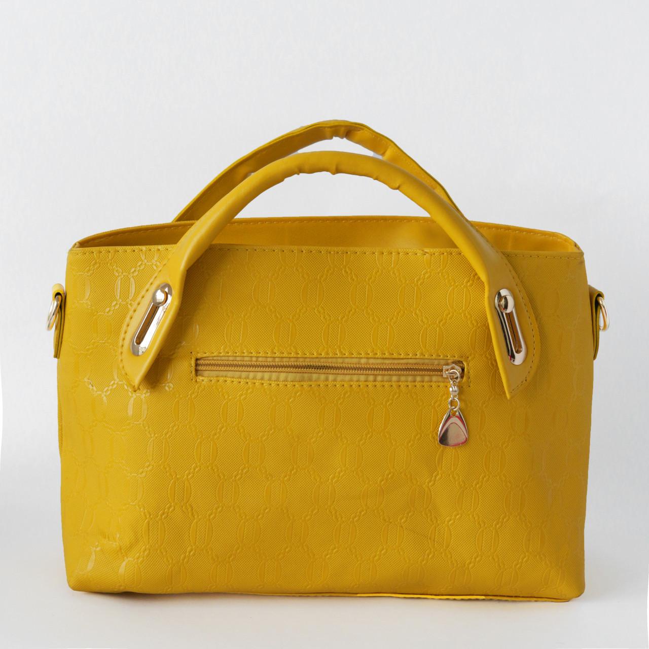 Яркая женская сумка из экокожи желтая, фото 2