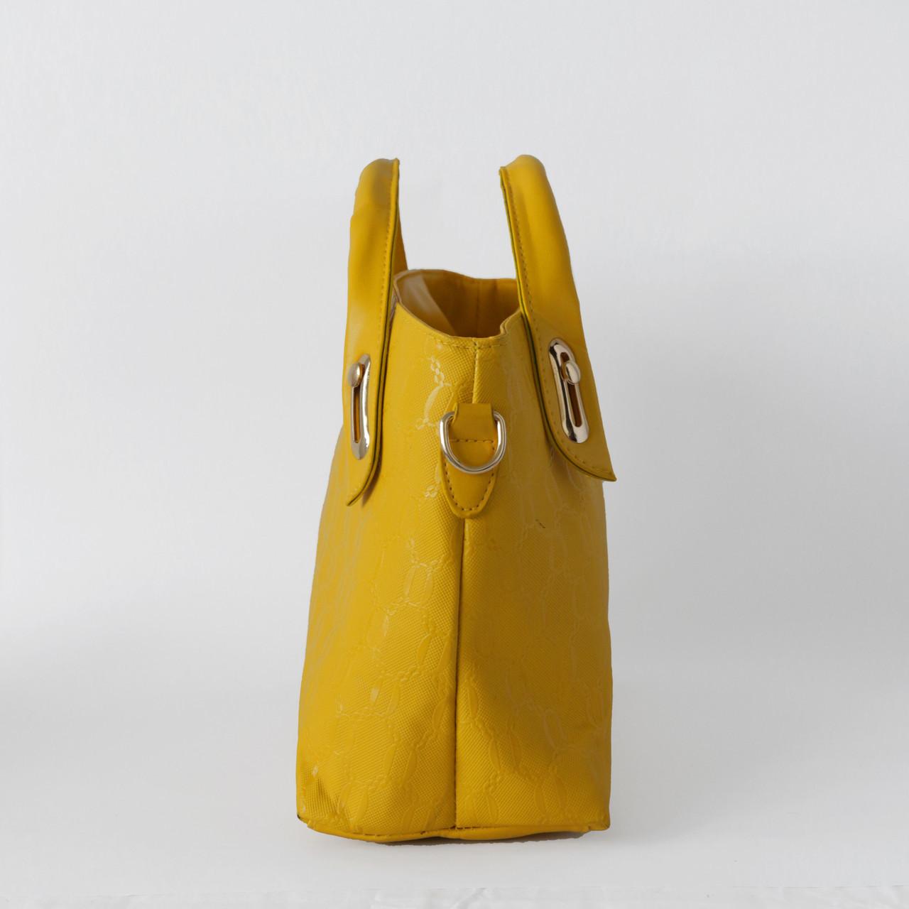 Яркая женская сумка из экокожи желтая, фото 3