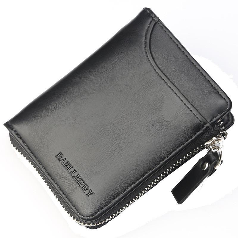 Маленький черный мужской кошелёк Baellerry на молнии, фото 1