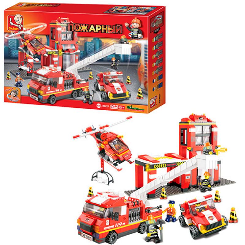 Конструктор типа лего Пожарная часть большая на 745 деталей, пожарный транспорт, Sluban M38-B0227