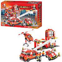 Конструктор типа лего Пожарная часть большая на 745 деталей, пожарный транспорт, SlubanM38-B0227
