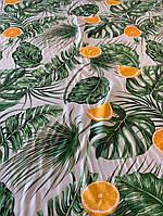 Ткань голубой штапель с апельсинами, фото 1