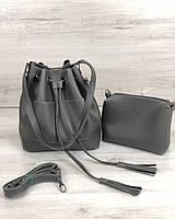 Молодежная сумка из эко-кожи  Люверс серого цвета (никель)