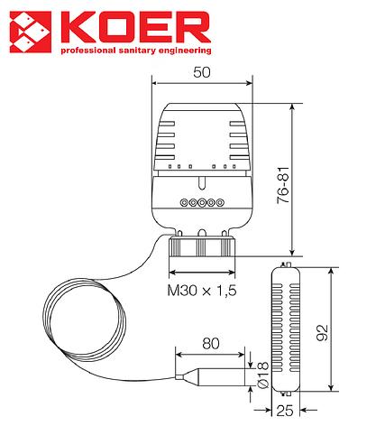 Термостатическая головка М30х1,5 KOER 20...60 °С с выносным настенным датчиком, фото 2