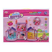 Домик двухэтажный для маленьких куколс мебелью и аксессуарами, дом для кукол типа лол 10 см, 969