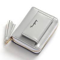 Женский кошелёк с кисточкой маленький серого цвета опт, фото 1