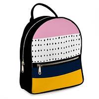 Рюкзак 3D міський чорний Риски і плямки (черный рюкзак геометрический рисунок)