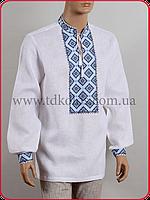 Льняная мужская вышиванка «Кубик синий», фото 1