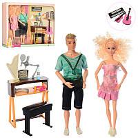 Набор кукол семья - кукла типа барби и кен музыканты, шарнирные, музыкальные инструменты,7725-B1