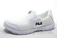 Белые летние кроссовки в стиле Fila, без шнурков (Slip On) Фила, фото 3