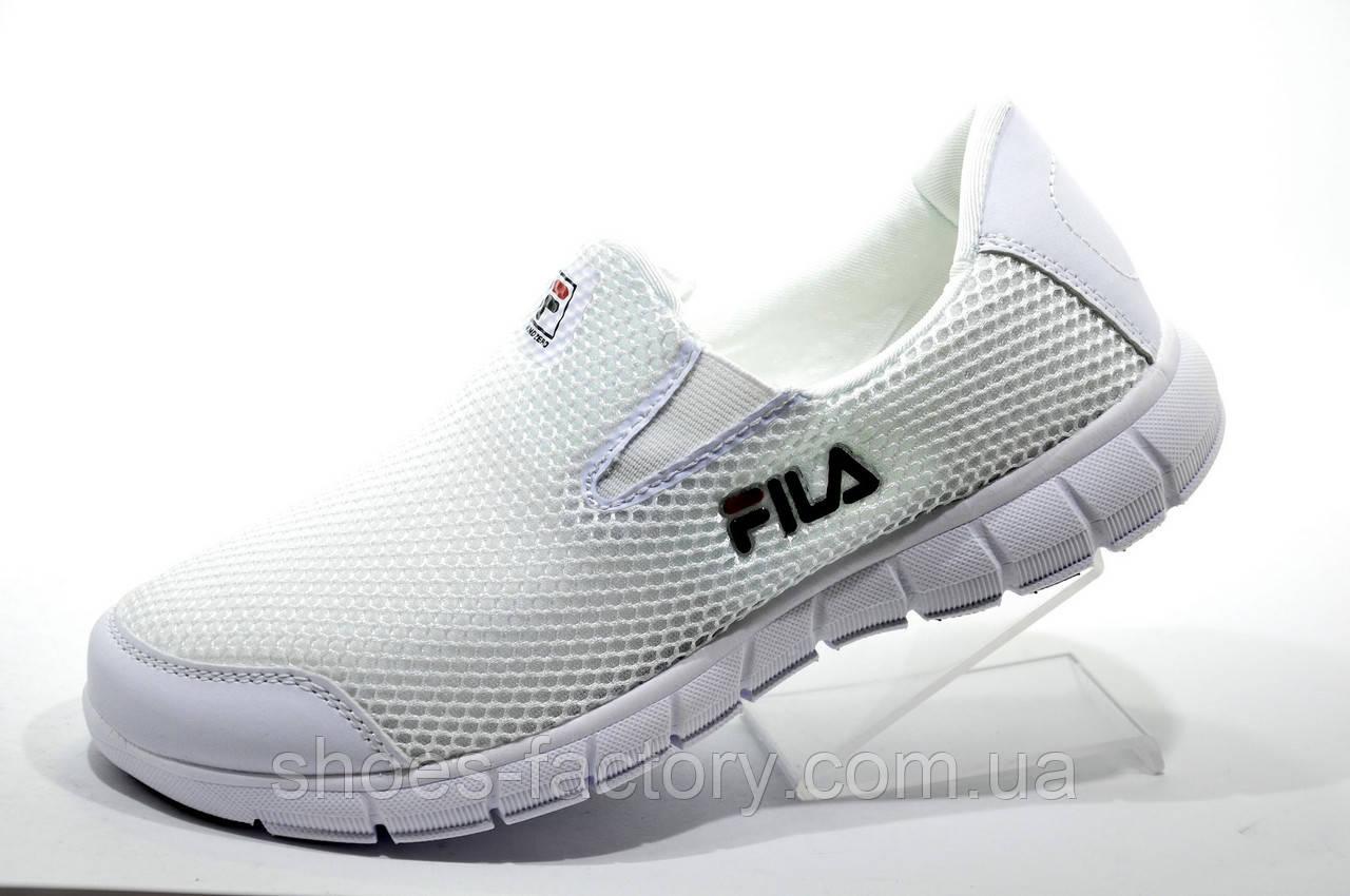 Белые летние кроссовки в стиле Fila, без шнурков (Slip On) Фила