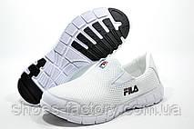 Белые летние кроссовки в стиле Fila, без шнурков (Slip On) Фила, фото 2